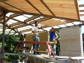 Découpe des planches du plafond
